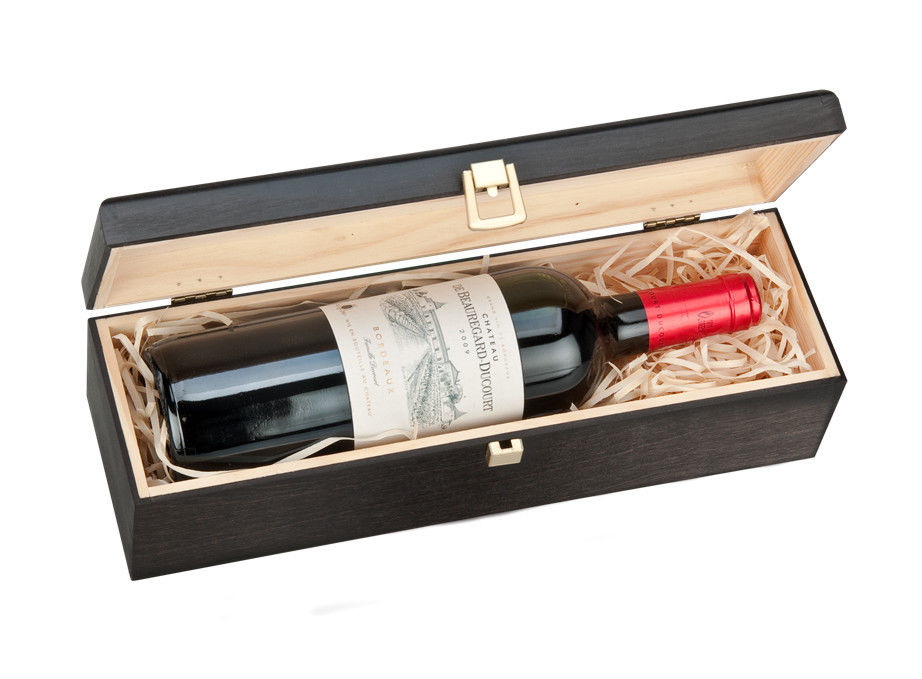 Single Bottle Wooden Luxury Gift Box For Wine Champagne Or Whisky Black
